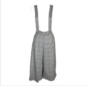 Amante Cropped Wide Leg Pants with Suspenders